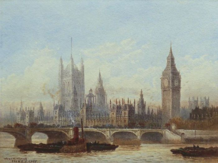«Westminster and Westminster Bridge from the River» J. Goff