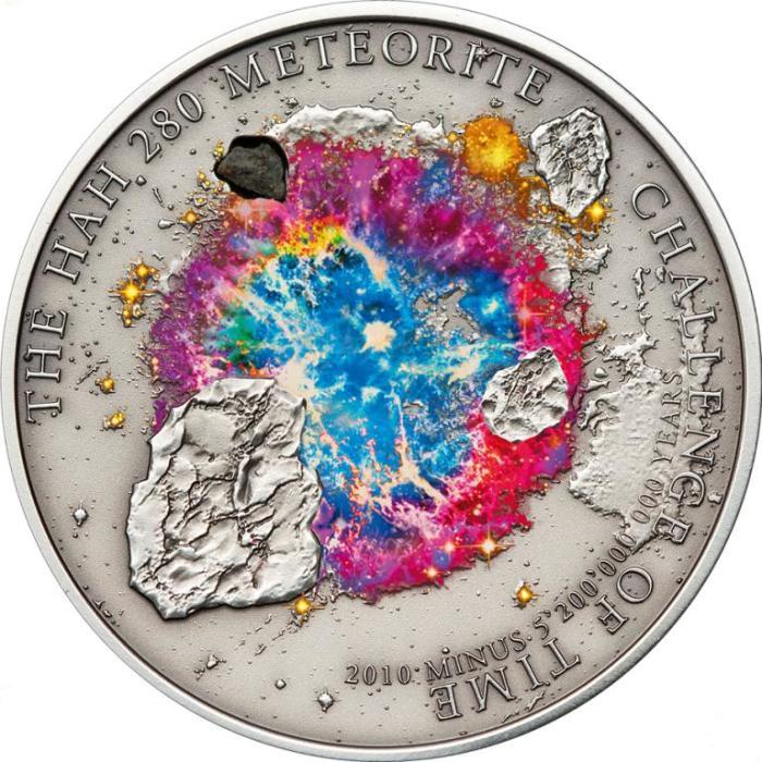 Монета с куском метеорита./Фото: coinsfromworld.com