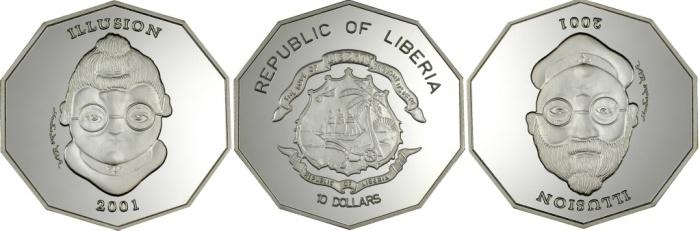 Монеты-иллюзии из Либерии./Фото: news.coin.su