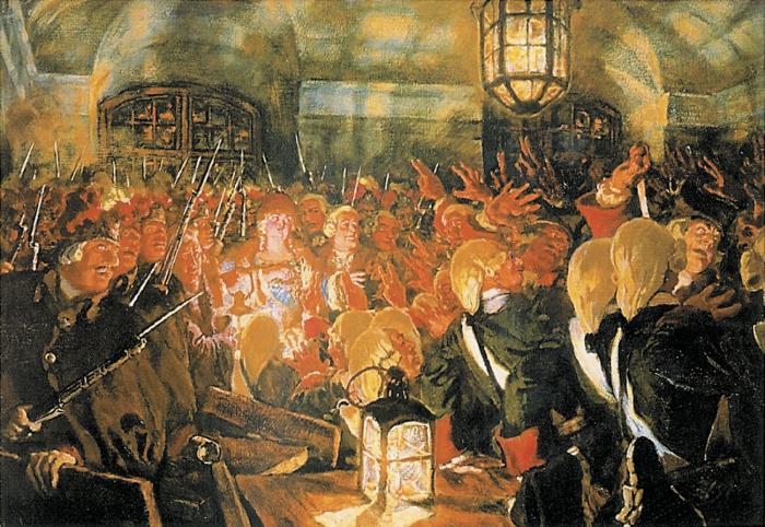 Е. Е. Лансере. «Воцарение Елизаветы Петровны, 25 ноября 1741 года». 1911 год