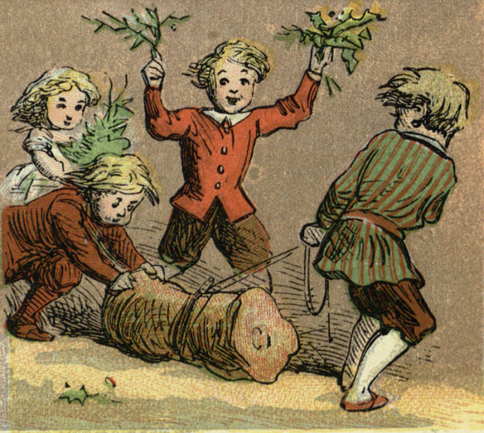 Дети и йольское полено. Иллюстрация из книги «Aunt Louisa's London toy books: the alphabet of games and sports» («Лондонские книжки-игрушки тетушки Луизы: алфавит игр и спортивных состязаний»). Лондон, 1870.