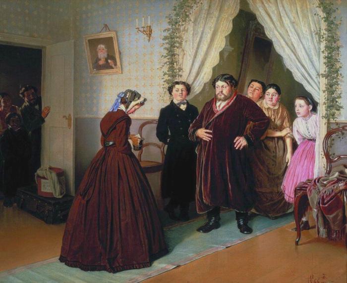 Часто в гувернантки шли образованные, но очень бедные девушки. Василий Перов, приезд гувернантки в купеческий дом.