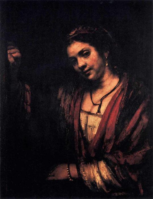Рембрандт. «Богатая женщина у окна». Портрет Хендрикье Стоффельс.