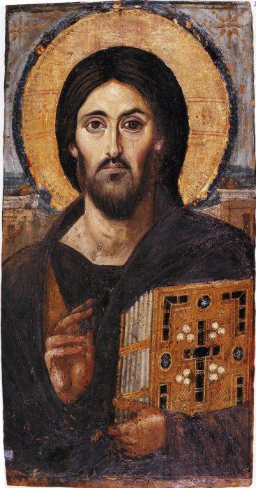 Христос Вседержитель VI век, монастырь св. Екатерины, Синай.