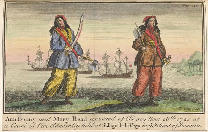 Гравюра с изображением пираток Энн Бони (слева) и Мэри Рид (справа)