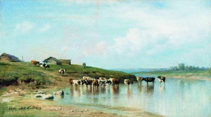 Художник М.Клодт. Стадо коров на водопое. 1874.