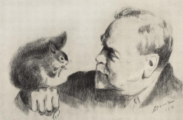 Художник А.Рылов. Автопортрет с белкой.
