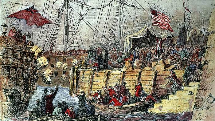 Бостонское чаепитие. Почтовая открытка XIX века.