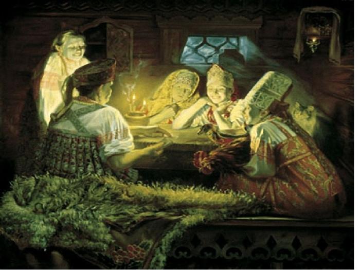 Ю. Сергеев.Иллюстрация к поеме Василия Жуковского «Светлана».
