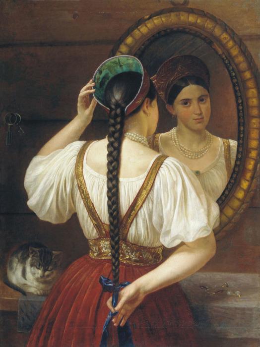 Ф.О. Будкин. Девушка перед зеркалом Длинная красивая коса была олицетворением чистоты и невинности.