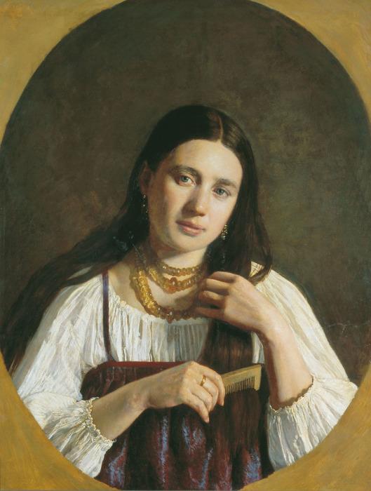 П.Н. Десятов. Девушка, расчесывающая волосы. Перед сном женщины расчесывали волосы, стараясь сделать как можно больше взмахов гребнем.