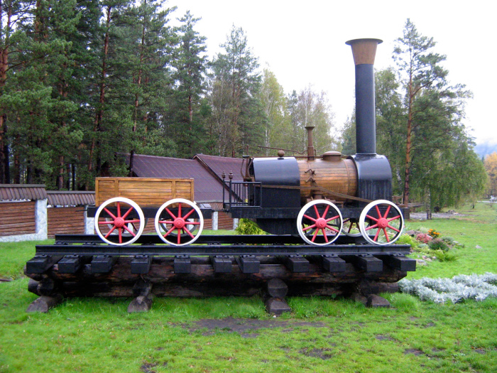 Макет паровоза Черепановых./Фото: pfoto-rzd.com