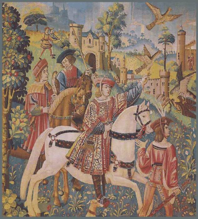 Охота с птицами возникла давно и была любимым развлечением знати. Соколиная охота. Гобелен ручной работы периода средневековья./Фото: /gobelen.be