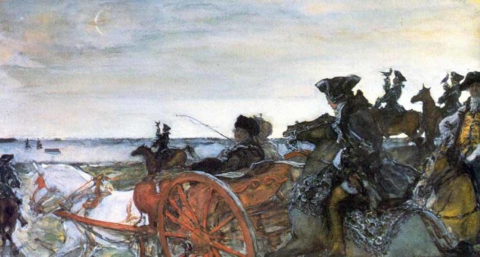 Екатерина II изредка выезжала на охоту. СЕРОВ Валентин Александрович (1865-1911) «Выезд Екатерины II на соколиную охоту». 1902 г.