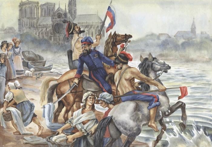 Казаки купались в Сене вместе со своими лошадьми, как на родном Дону./Фото: pbs.twimg.com