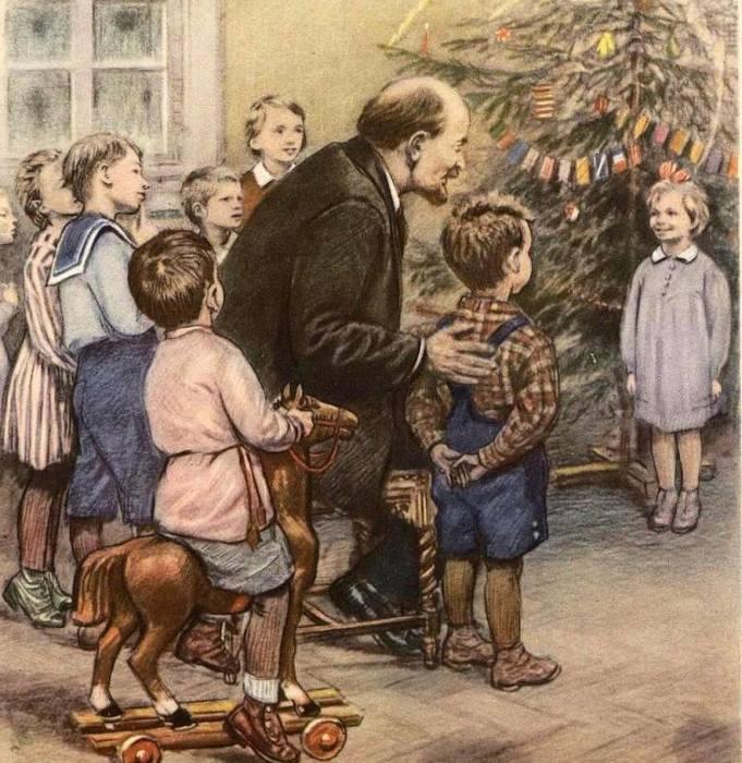 Ленин с детьми возле елки./Фото: www.pencioner.ru