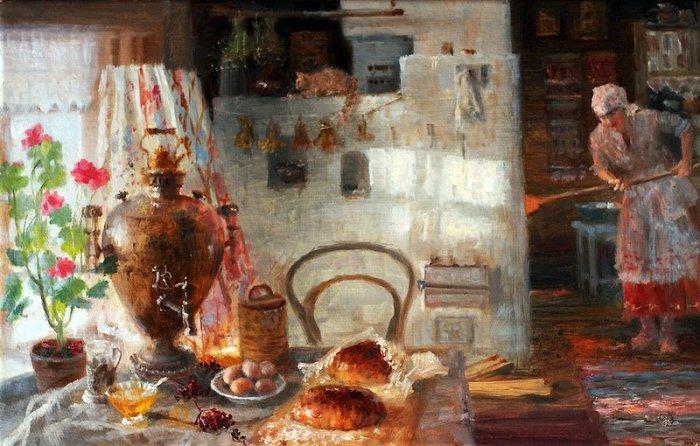 В.Жданов. Свежий хлебушек. Хлеб, испеченный в русской печи, имеет необыкновенный вкус