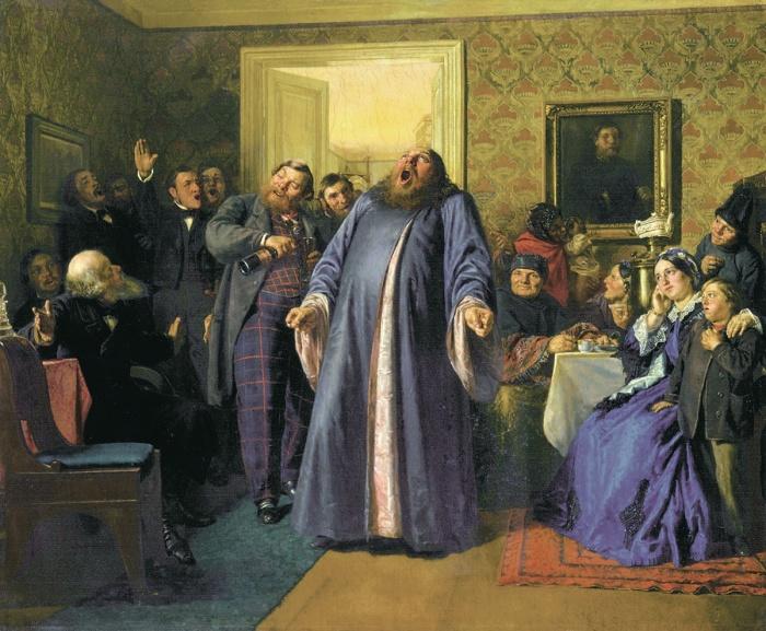 Николай Неврев. Протодиакон, провозглашающий на купеческих именинах долголетие. 1866 г. <br>Купцам разрешалось пить и закусывать дома.