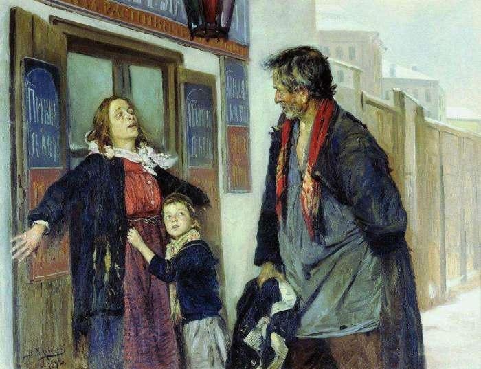 Владимир Маковский. Не пущу!. 1892. Женщина умоляет мужа не ходить в кабак.