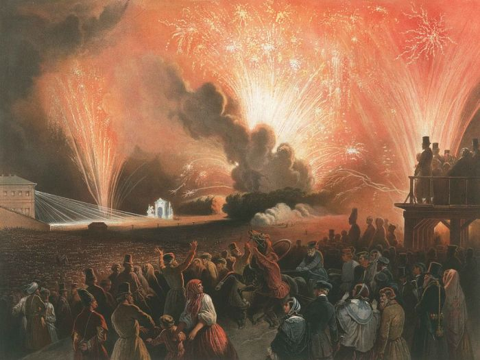 Фейерверк в эпоху барокко./Фото: bah-bah.ru