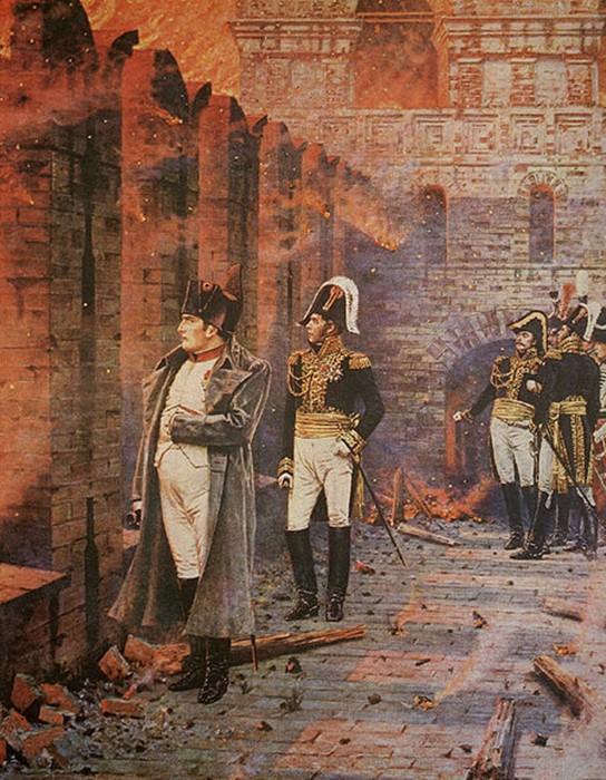 Пожары, устроенные диверсантами, сделали проблематичным жизнеобеспечение Великой французской армии./Фото: b1.culture.ru