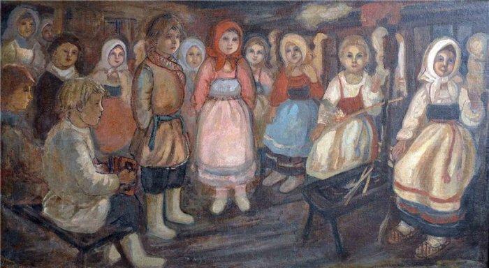 В посиделках участвовали неженатые парни и незамужние девушки. Картина Е. Честнякова.