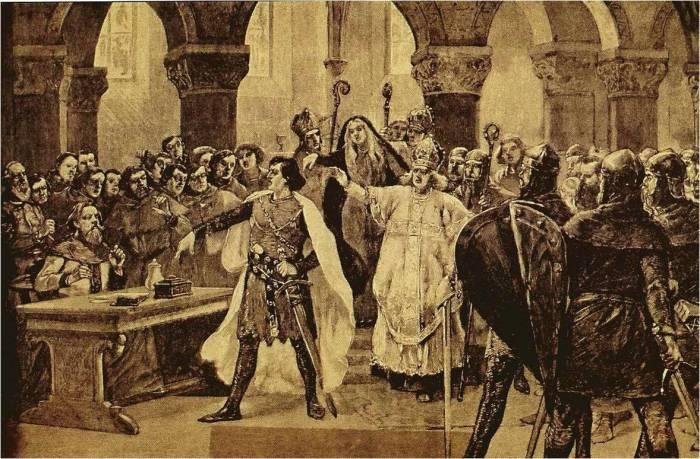 Император Священной Римской империи Генрих IV спорит с папой Григорием VII./Фото: 4.bp.blogspot.com