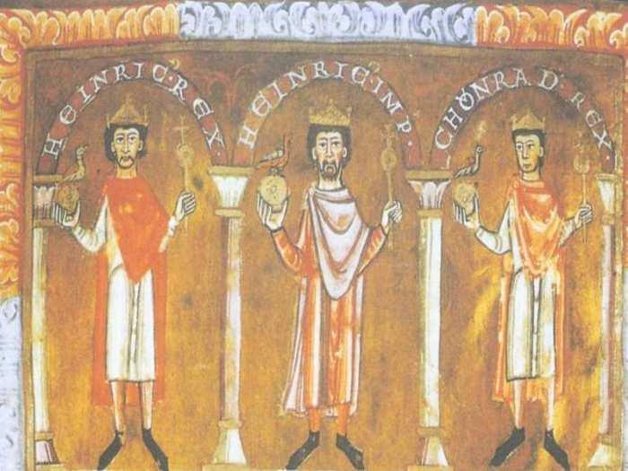 Генрих IV (в центре) на миниатюре из Апракоса Аббатства Святого Еммерама, XII века, второй муж и мучитель Евпраксии-Адельгейды./Фото: czasnahistorie.pl