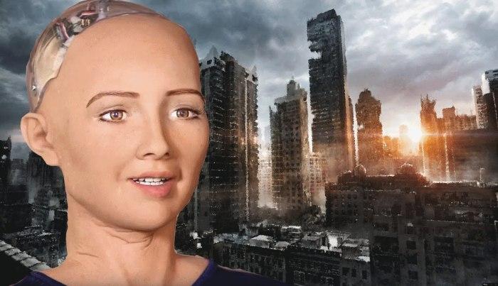 София, первый в мире человекоподобный робот, созданный в 2015 году./Фото: i.ytimg.com