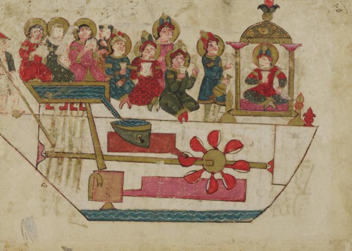 Механические музыканты. Иллюстрация Аль-Джазари к его трактату 1206 года «Книга знаний об остроумных механических устройствах».