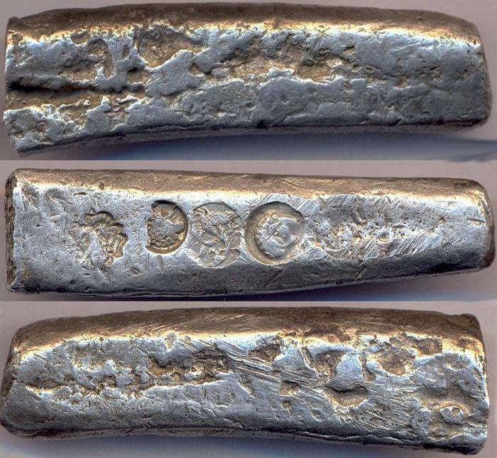 Первые рубли-бруски из серебра./Фото: mdregion.ru