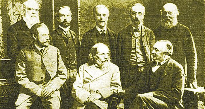 Д. И. Менделеев и участники 52-го съезда Британской ассоциации содействия развитию наук. 1887 год. Манчестер./Фото: vpk-news.ru