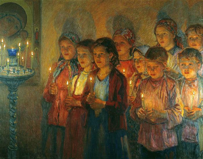 Богданов-Бельский, «В церкви».