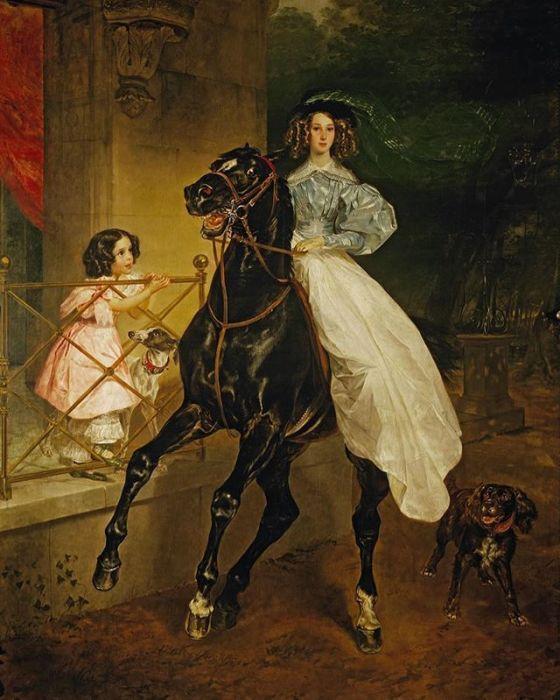 Карл Брюллов, «Всадница». Портрет графини Самойловой с приемной дочерью Амацилией
