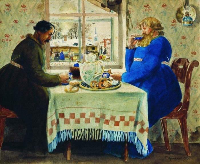 Б. Кустодиев, «Извозчик в трактире».