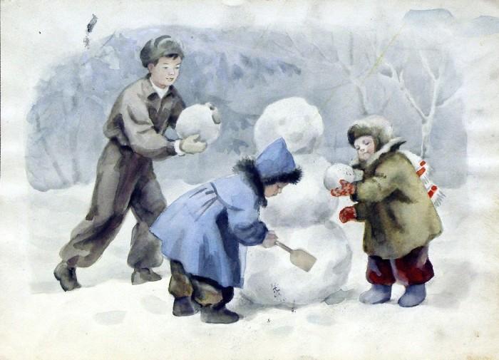 Лепка снеговиков – одно из любимых зимних развлечений детворы. Боровская А.К. Дети лепят снеговика.