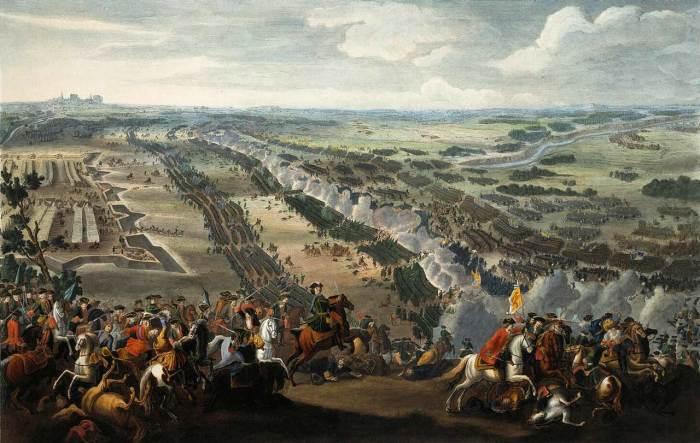 Д. Мартен. Битва под Полтавой.  После Полтавской битвы Петр I наградил всех участников.