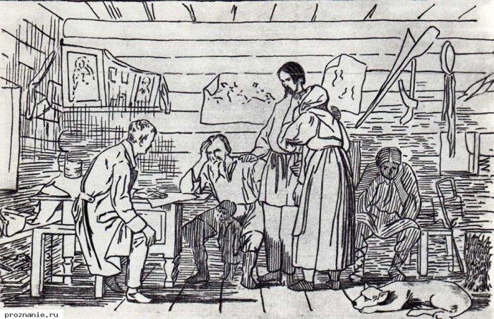 Литография с картины В.Бочина. Весть о рекрутском наборе.  Рекруты часто сбегали по дороге к месту сбора, потому их сопровождал конвой.