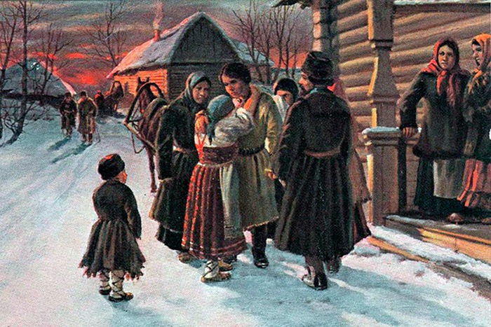 И. Львов. Прощание рекрута с родителями. Рекрутский набор был отменен в 1874 году.