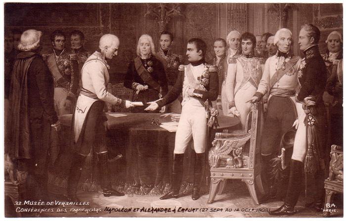Встреча императоров Наполеона и Александра I в Эрфурте 27 сентября – 14 октября 1808 года./Фото: museum.ru