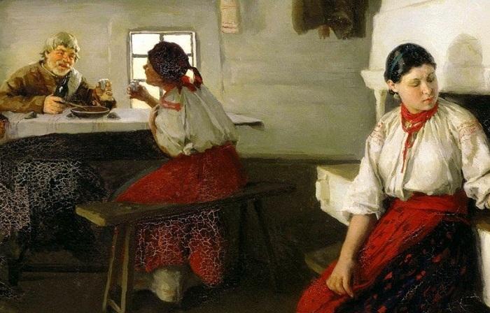 Пимоненко Н.К. Сваты  Договаривались о свадьбе сваты и родители.
