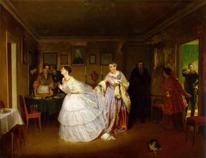 Федотов П.А. Сватовство майора 1848. Не всегда невеста была рада сватам.