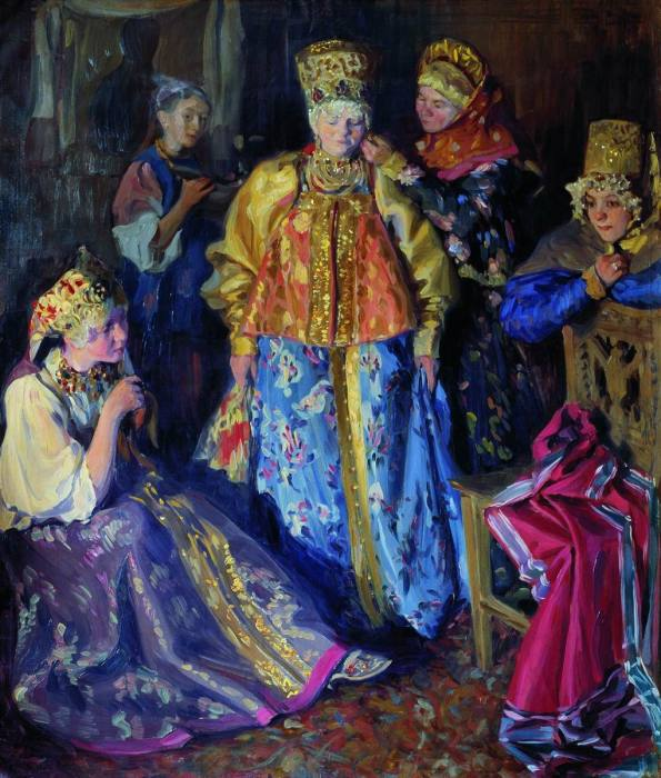 Куликов И.С. Убор невесты, 1907. В день свадьбы убор невесты меняли на новый, замужний.
