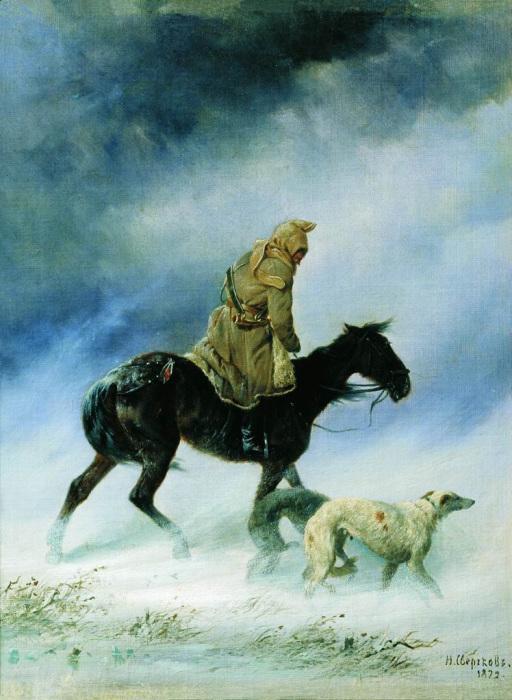 Художник Н.Е.Сверчков. Охотник,застигнутый вьюгой, 1872./Фото: art-catalog.ru