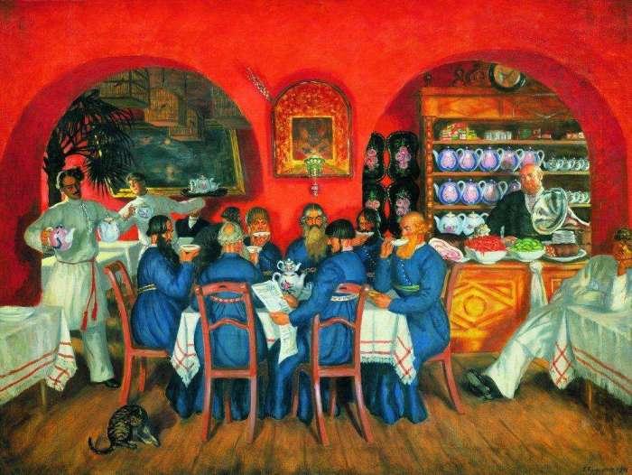 Трактир, по словам Гиляровского, заменял биржу, столовую, место свиданий и разгула. Борис Кустодиев, Трактир.