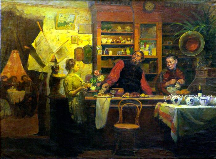 Чай нашел свое место в чайных, где всегда можно было заказать чашку горячего напитка. Алексей Кокель, «В чайной».