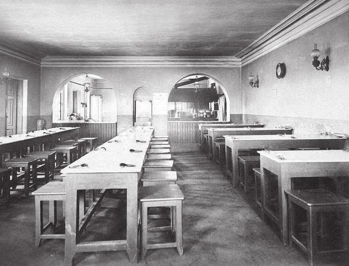 Рабочие столовые отличались скудным интерьером, но зато в них было чисто./Фото: thelib.ru