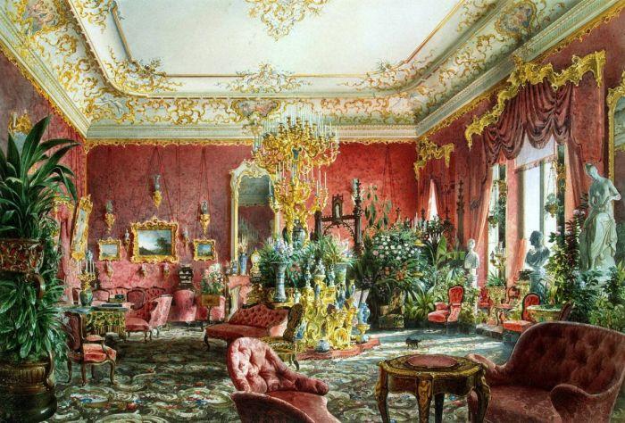 гостиная во дворце, украшенная цветами./Фото: artchive.ru