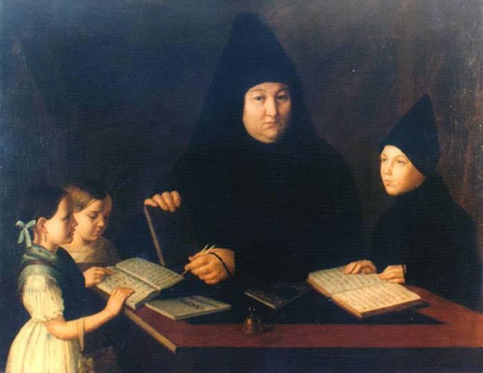 Неизвестный художник. Монахиня Сусанна (Рылеева) учит детей./Фото: f12.ifotki.info