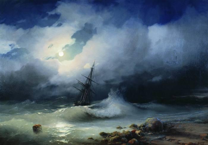 Иван Айвазовский. Бурное море ночью (1853)